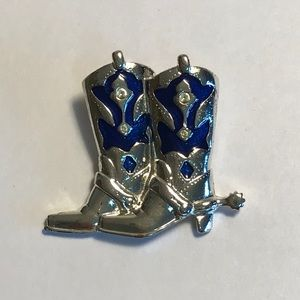 Brooch Silver Tone with Blue Enamel Boots
